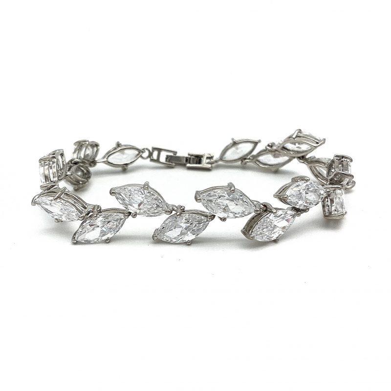 Silver Leaf Bridal Bracelet