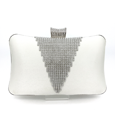 white satin diamante clutch