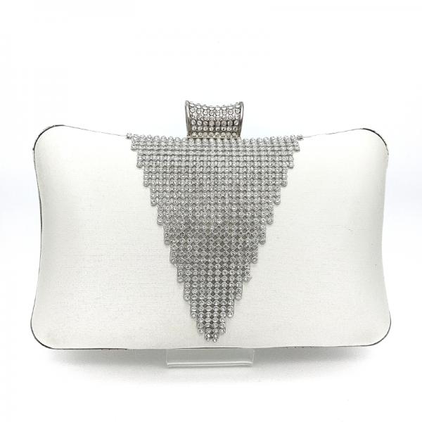 white satin diamante clutch