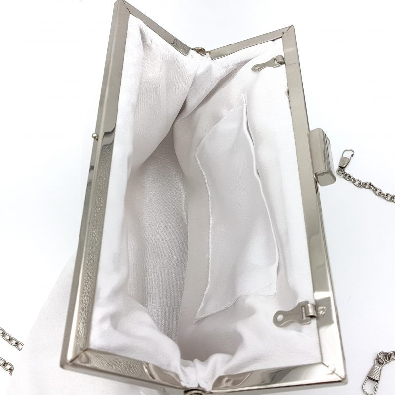 white satin evening clutch