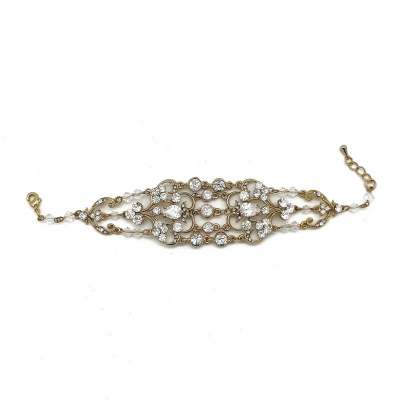Wide Gold Bridal Bracelet