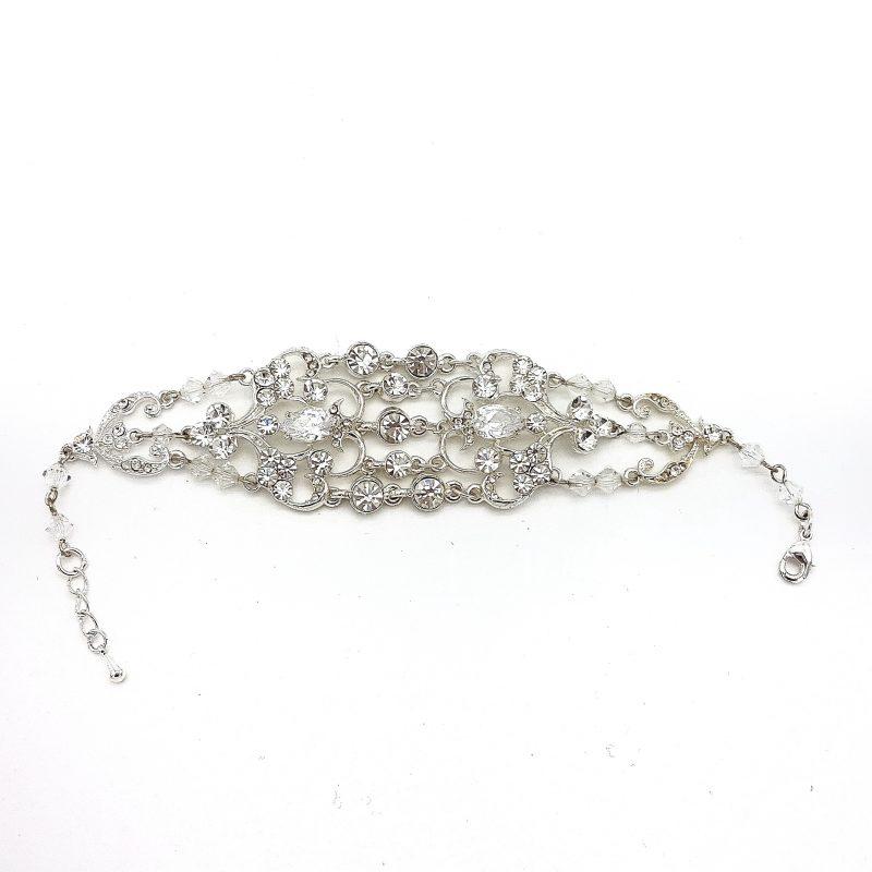 Wide Silver Bridal Bracelet