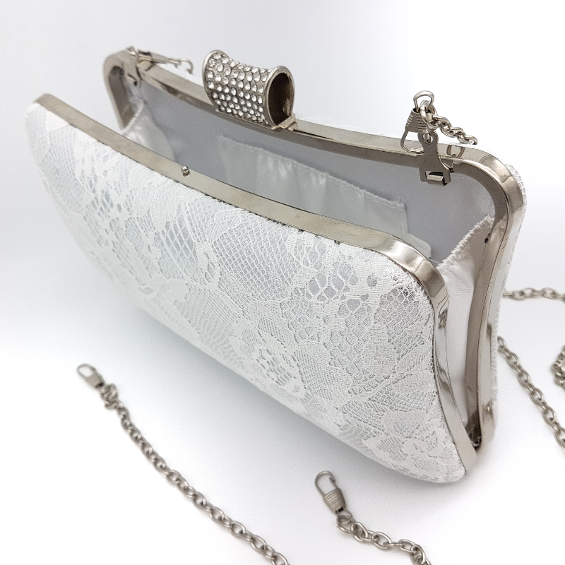 silver and white bridal clutch