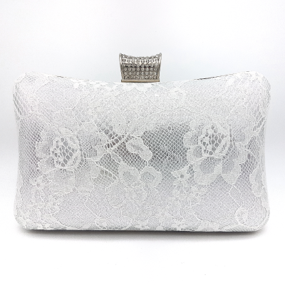 silver lace bridal clutch