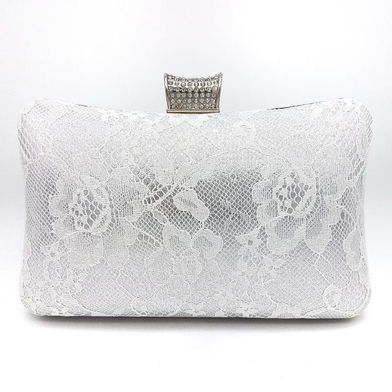 silver lace bridal clutch