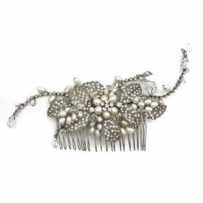 vintage pearl hair comb