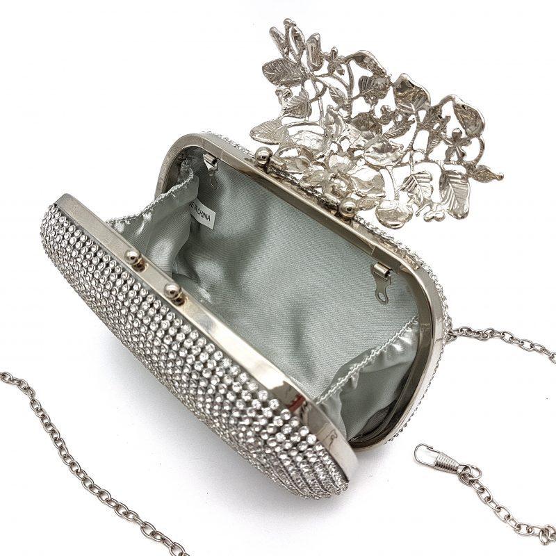 silver rhinestone bridal clutch
