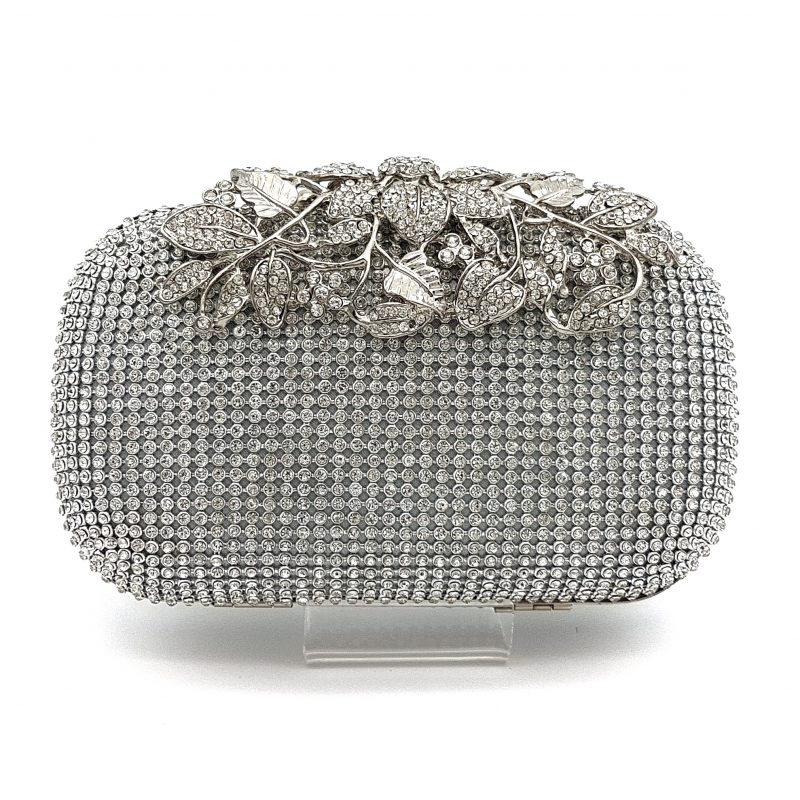 silver diamante clutch