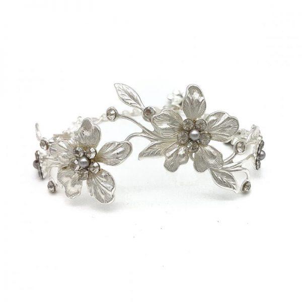 crystal and pearl flower bracelet