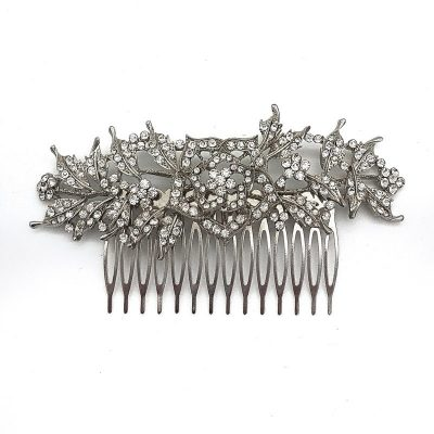 Silver Floral Hair Comb