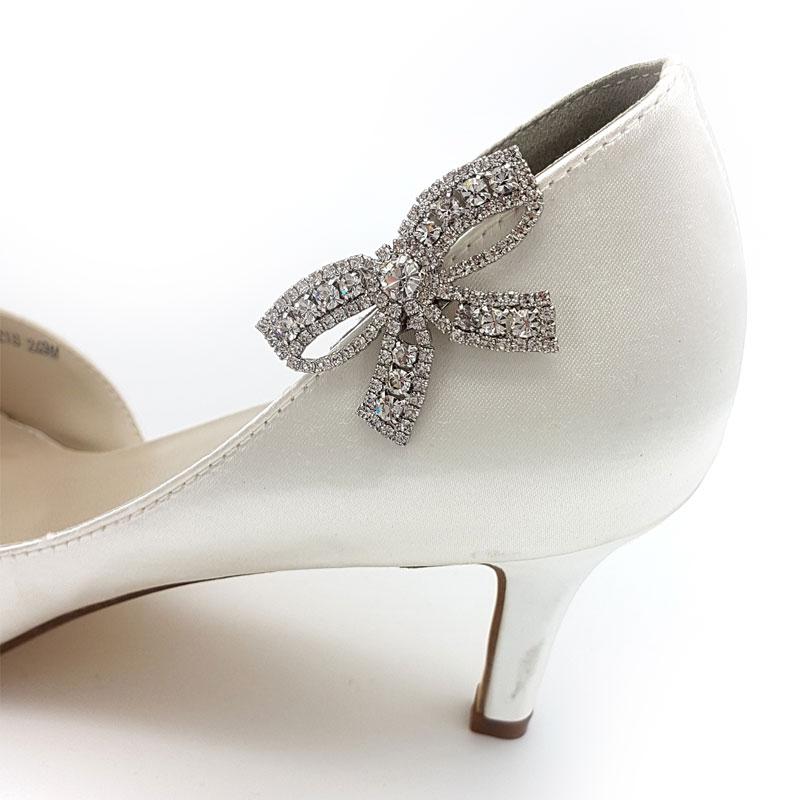 silver diamante bow shoe clips