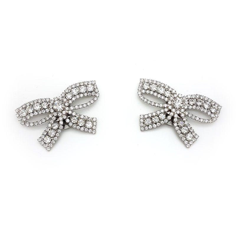 silver bow diamante shoe clips