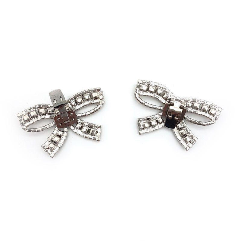 diamante silver bow shoe clips