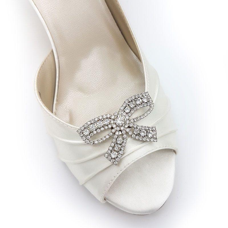 silver rhinestone bow shoe clips