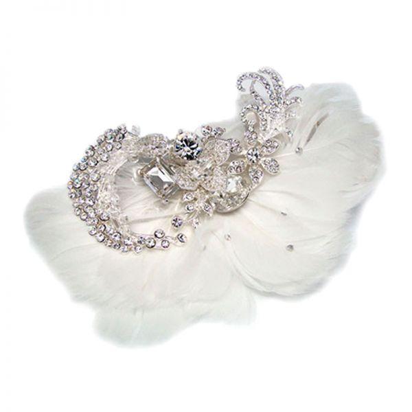 Feather and Crystal Hair Comb - AR66906CH