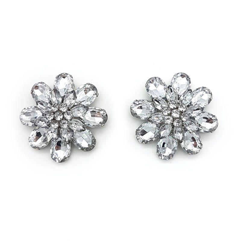 flower rhinestone silver show clip