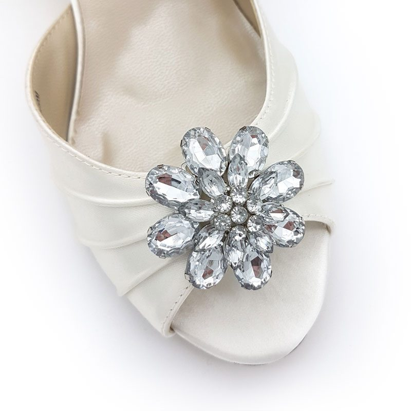 silver flower diamante bridal shoe clips