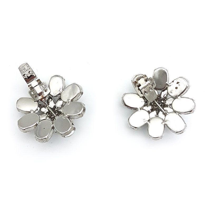 silver flower shoe clips