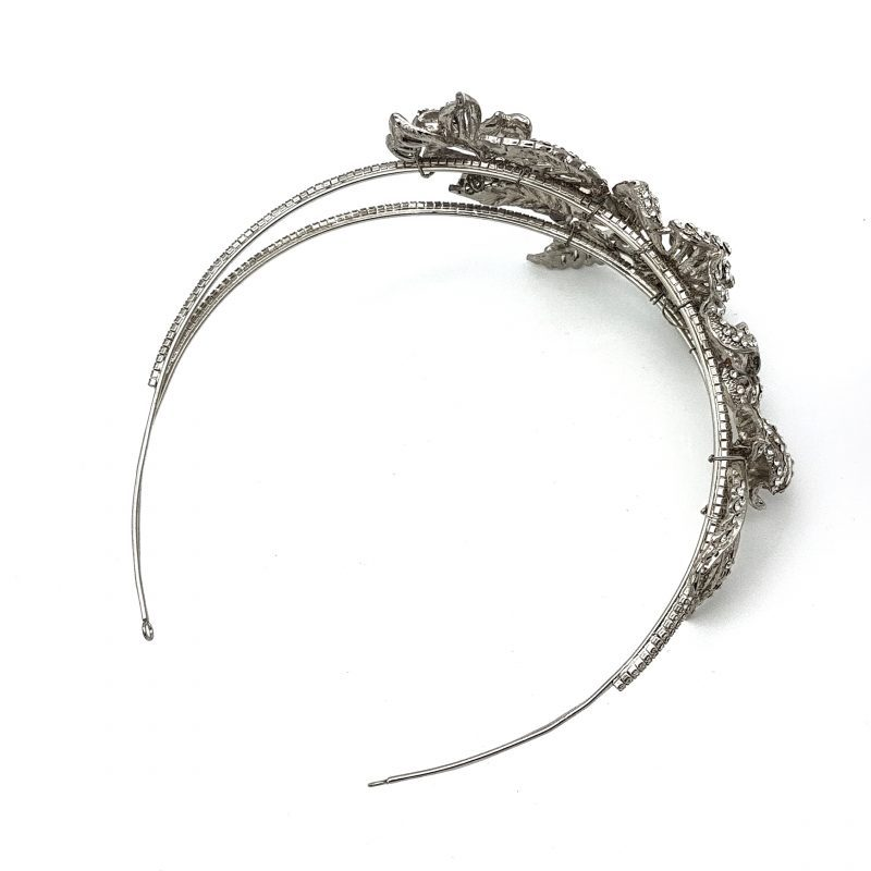 Silver floral wedding headband