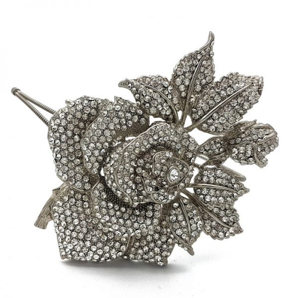 Rhodium Silver Rose Bridal Headband
