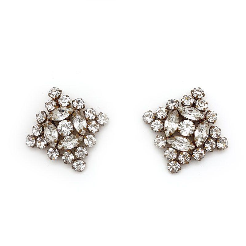 gold diamante diamond bridal shoe clips
