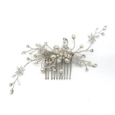 Silver Pearl and Crystal Bridal Comb