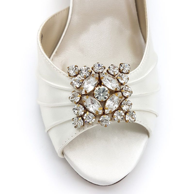 square gold diamante bridal shoe clips