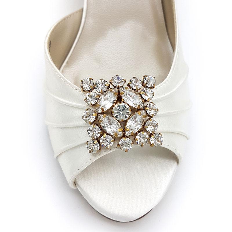 square gold diamante bridal shoe clips