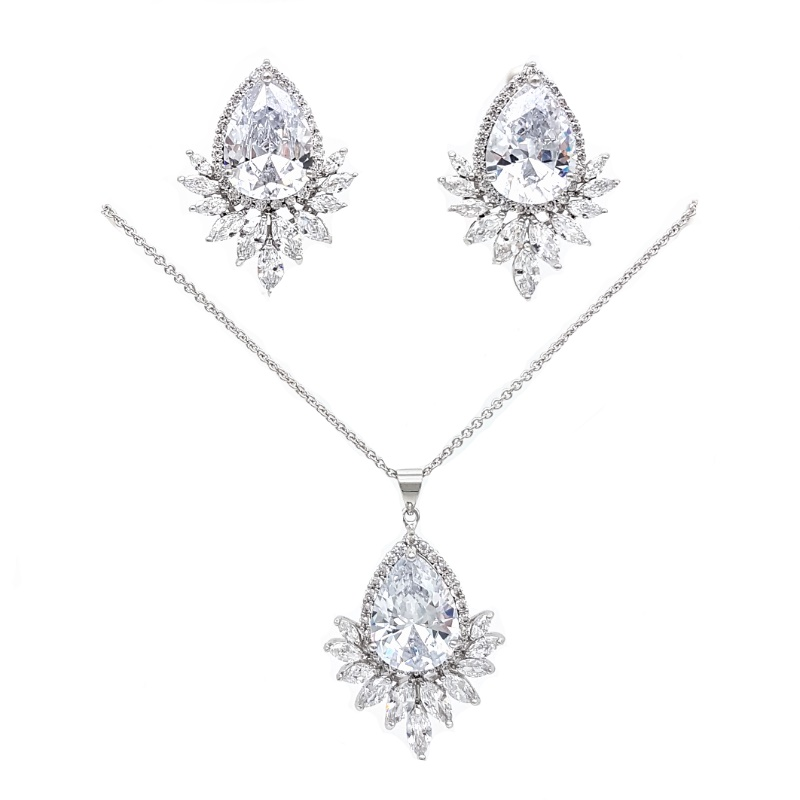 pendant drop necklace and earring set