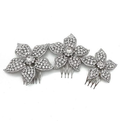 Silver Diamante Floral Hair Comb