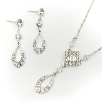 Swarovski silver bridal necklace set