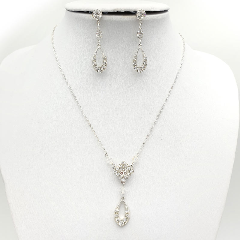 Silver Swarovski crystal necklace set