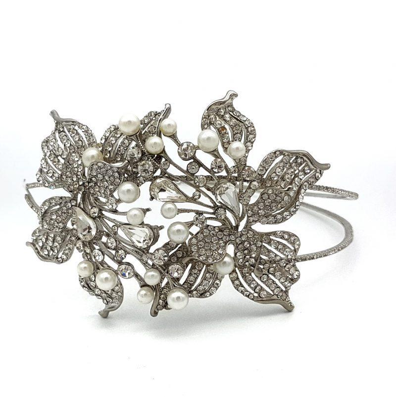 Pearl floral bridal headband