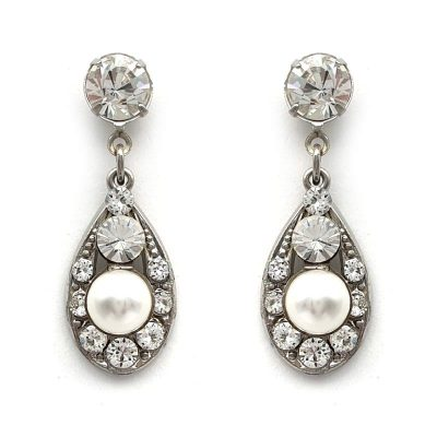 swarovski pealr ans crystal bridal drop earrings