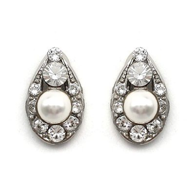 Swarovski pearl and crystal stud earrings