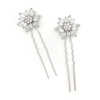 Silver flower hair pins