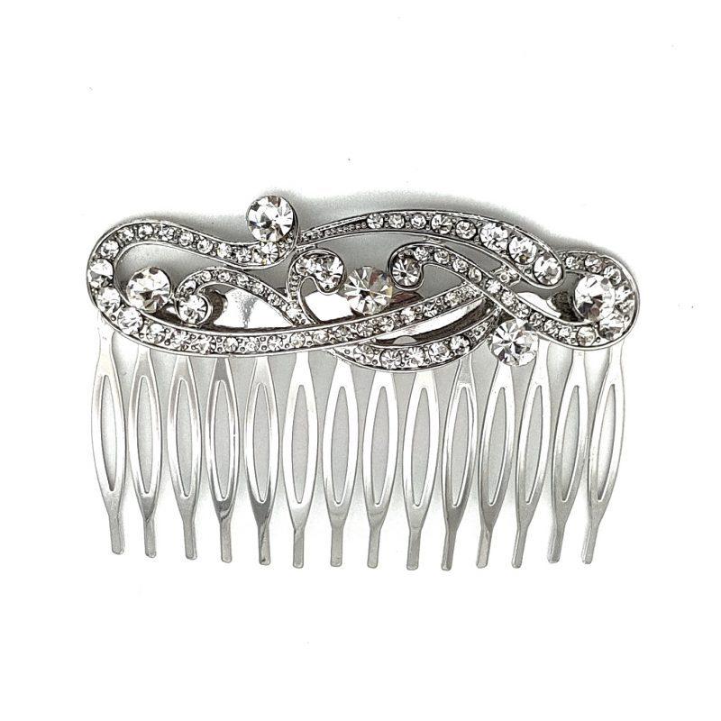 Rhodium Silver Bridal Comb