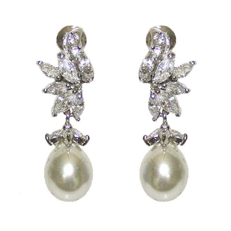 Pearl and CZ Earrings - TIF316WLD