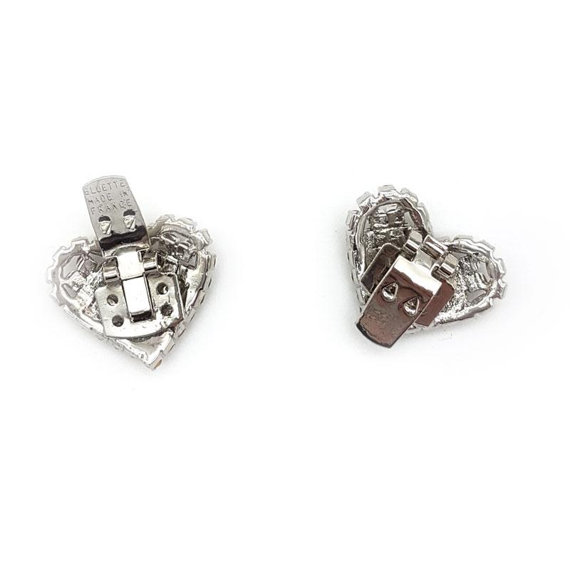 silver heart bridal shoe clips