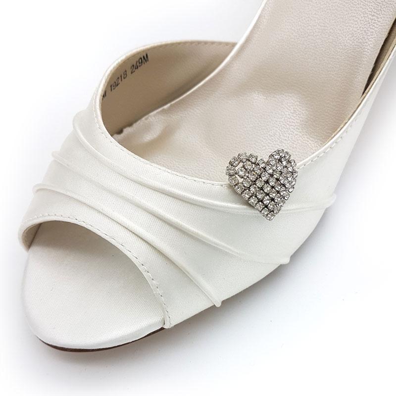 silver heart shoe clips