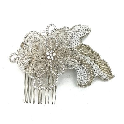 Silver beaded Flower Hair Comb