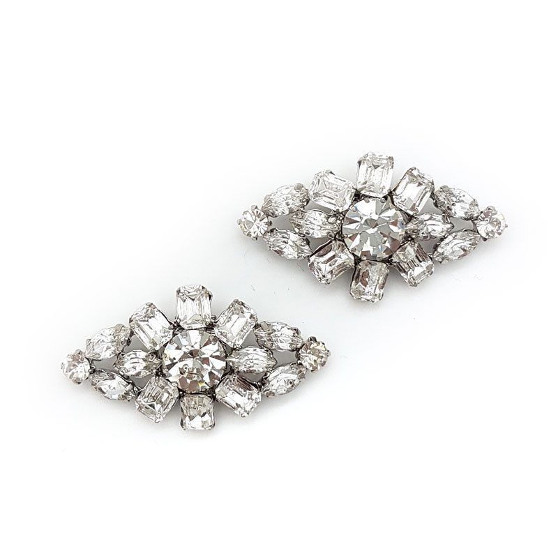silver rhinestone bridal shoe clips