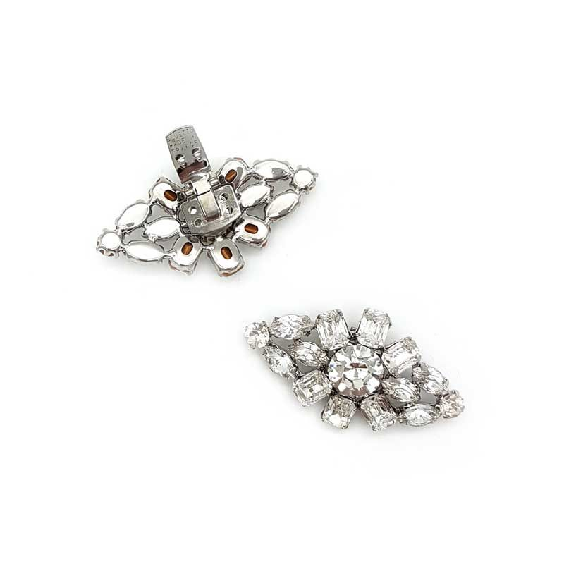 silver diamond bridal shoe clips