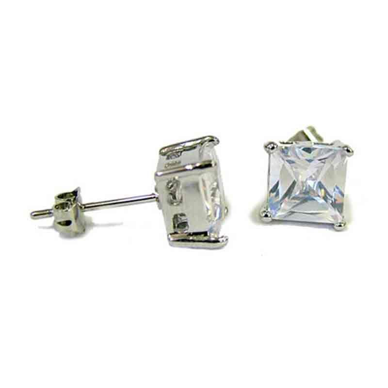 Princess Cut Stud Earrings - BAE5000CH