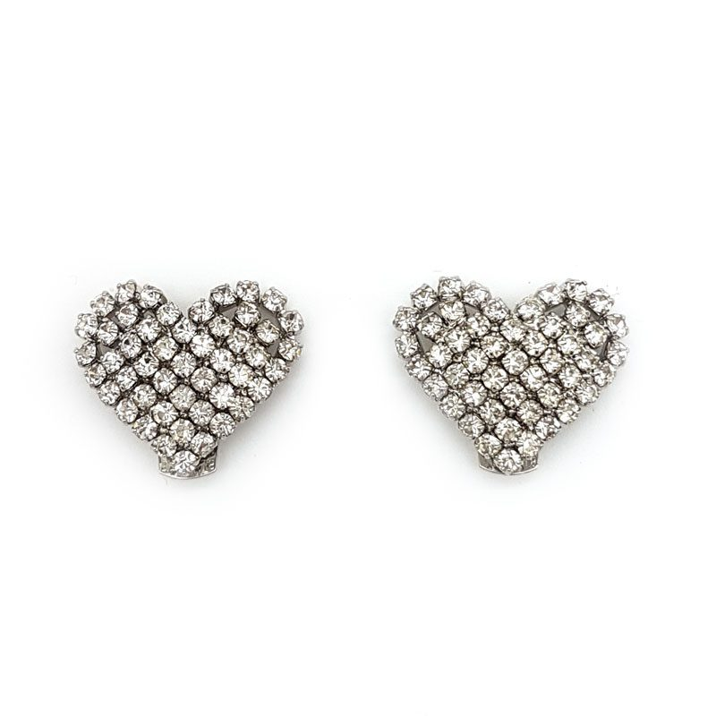 silver diamante heart bridal shoe clips