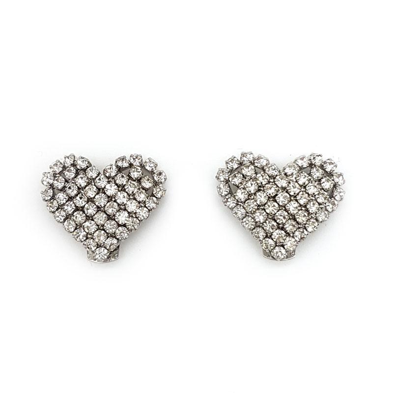 silver diamante heart bridal shoe clips