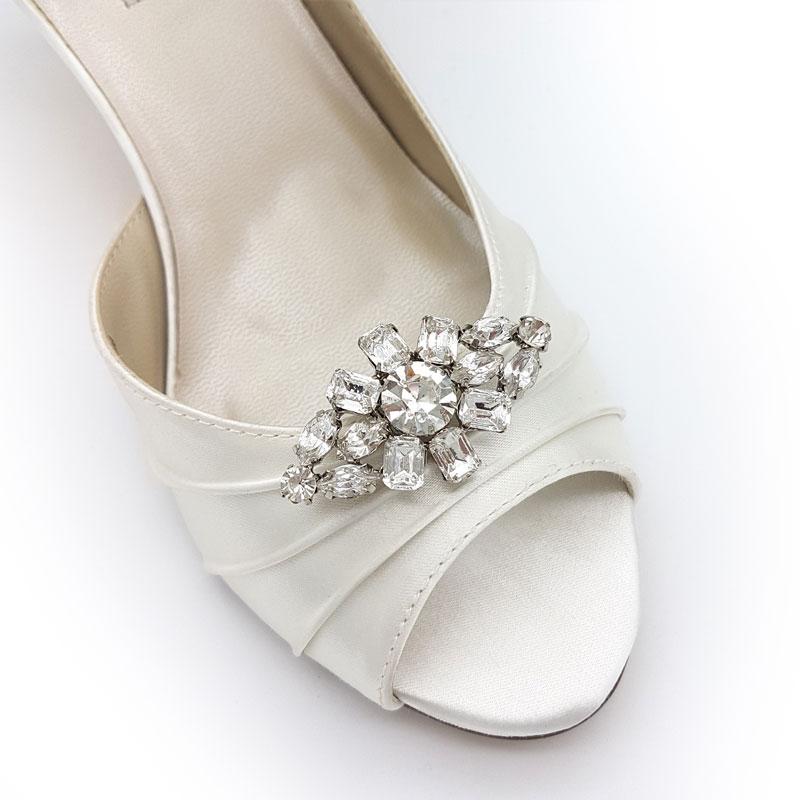 silver diamante bridal shoe clips