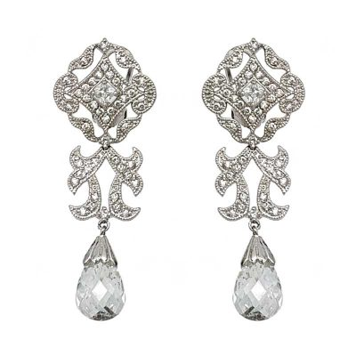 silver vintage bridal earrings