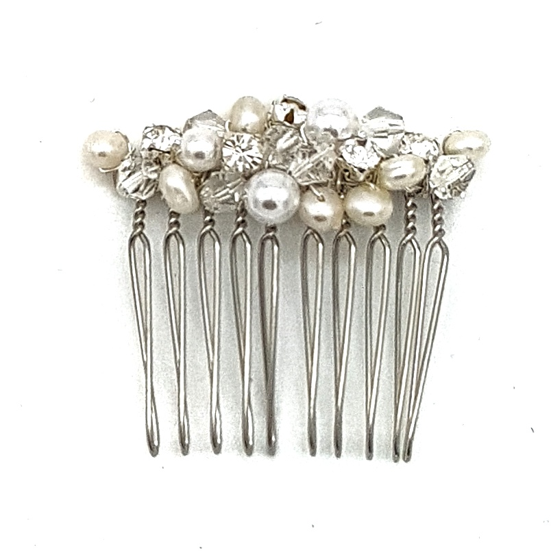 small silver pearl hari comb