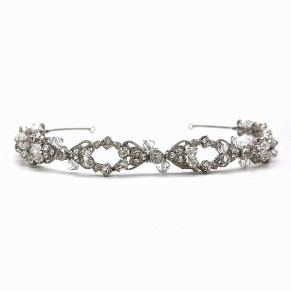 Silver rhodium bridal headband